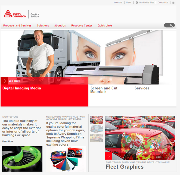 Novo site da Avery Dennison Graphics Solutions