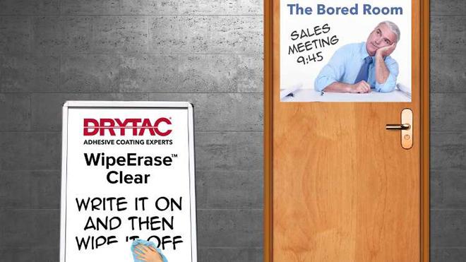 WipeErase Clear pode ser laminado sobre vários tipos de superfícies