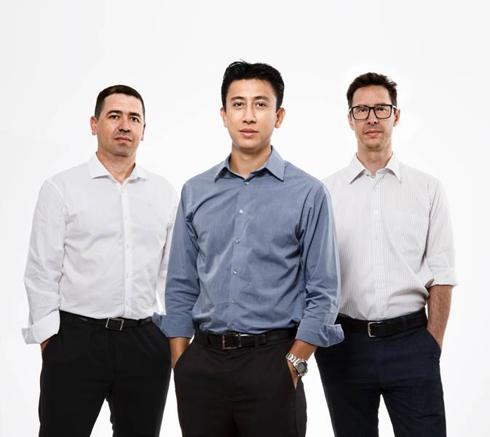 Sócios-diretores da Ampla: Sidnei Marques (Operações), Ricardo Augusto Lie (Negócios) e Adriano Coelho (Técnico)