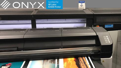 HP Latex R2000 Plus rodou com o aplicativo Onyx durante a Fespa Print Expo 2018