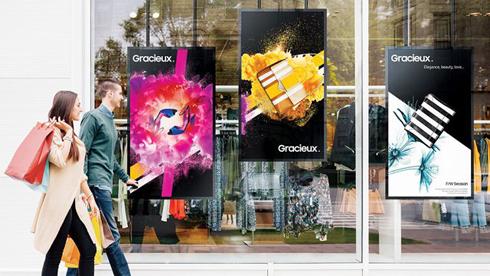 Displays específicos são projetados para oferecer o melhor desempenho em janelas de lojas