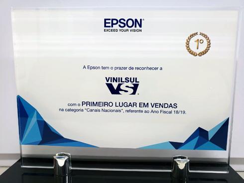 Fornecedora recebeu o prêmio de Distribuidor Nacional Epson com Melhor Performance em Vendas da América Latina